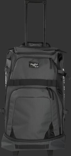 Front of a grey R1801 Wheeled catcher's equipment bag with black trim