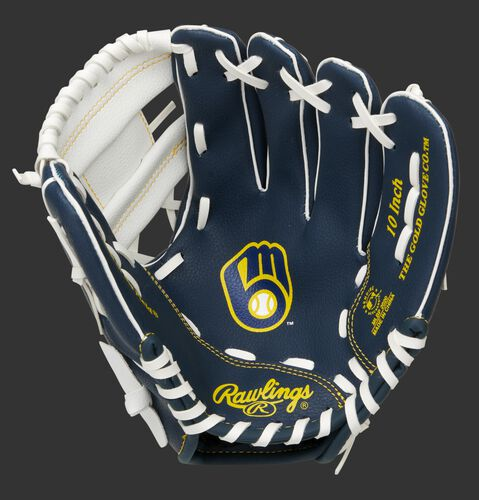 A navy/white Rawlings Milwaukee Brewers youth glove with the Brewers logo stamped in the palm - SKU: 22000006111