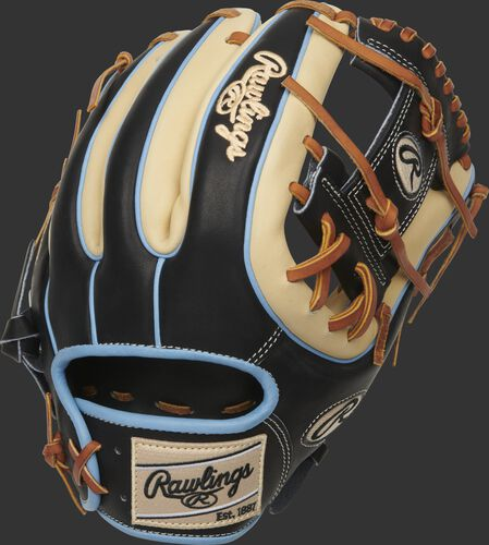 A black/camel 2021 Heart of the Hide I-web infield glove with a camel Rawlings patch - SKU: PRO315-2CBC