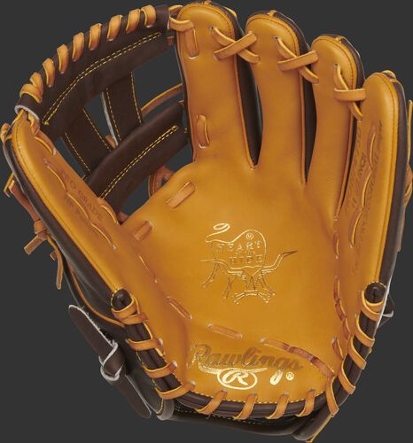Tan palm of a Rawlings San Diego Padres HOH glove with gold stamping and tan laces - SKU: RSGPRONP4-7SD
