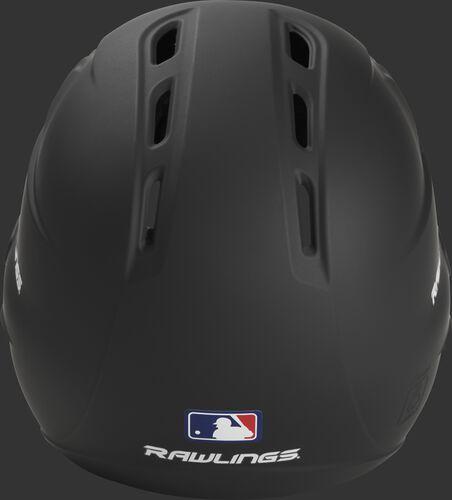 Back of a black Rawlings Velo batting helmet with the MLB logo - SKU: R6E07R