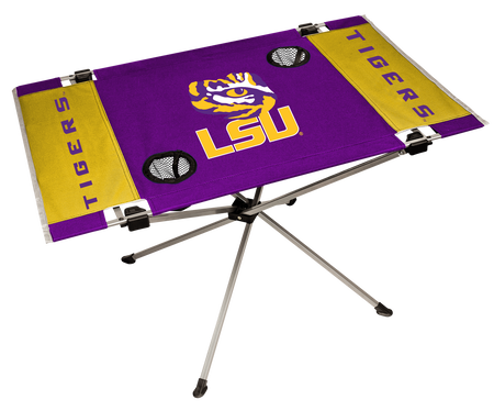 NCAA LSU Tigers Endzone tailgate table in team colors with a logo printed in the middle and two cup holders
