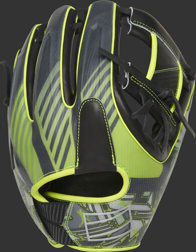 Black/neon back of a 11.75-Inch REV1X infield glove with a unique sublimated design and Adaptive Fit back - SKU: REVFL12