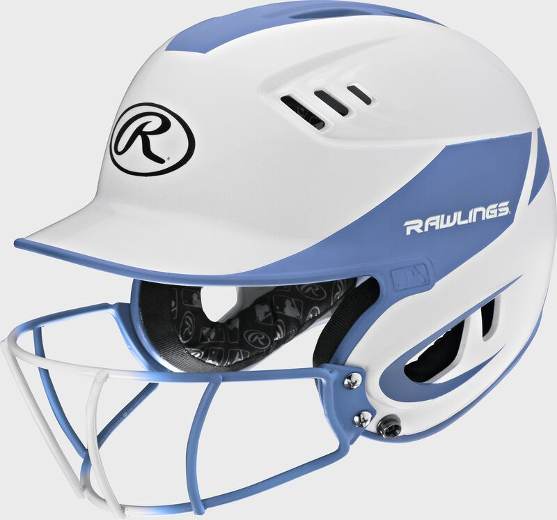 A white/columbia blue R16H2FGS Velo senior batting helmet with a white/columbia blue facemask
