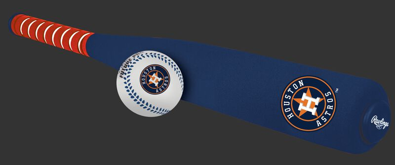 Side of Rawlings Houston Astros Foam Bat and Ball Set in Team Colors With Team Name and Logo On Front SKU #01860002111