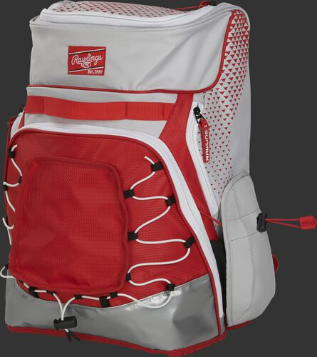 Front left of a white/scarlet R800 softball backpack