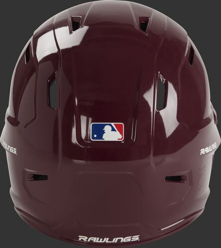 Back of a maroon MCH01A Mach baseball batting helmet with a MLB logo sticker