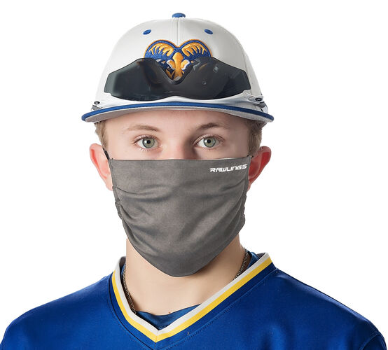 A player wearing a heather gray Rawlings performance wear sports mask - SKU: RMSK-HGRY
