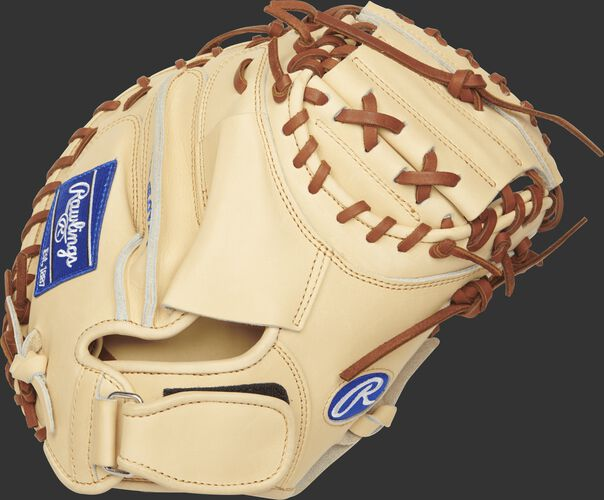 PROSP13C Heart of the Hide 32.5-inch catcher's mitt with a camel back and wrist strap