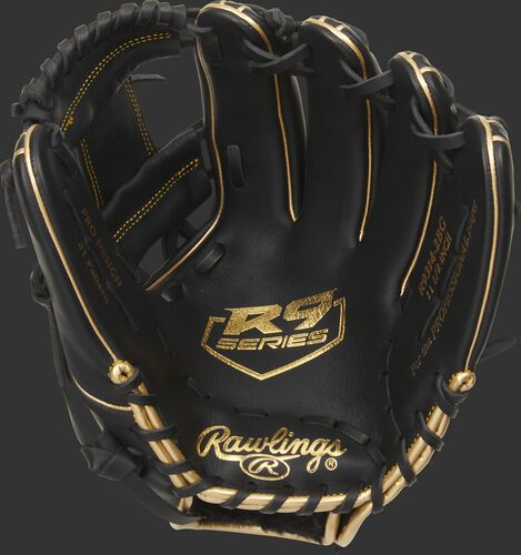Black palm of a Rawlings R9 series infield glove with a gold palm stamp and black laces - SKU: R9314-2BG