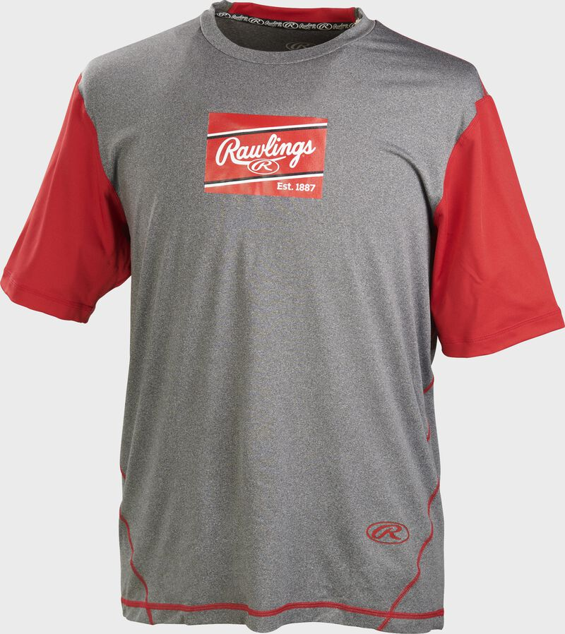 A gray/scarlet Rawlings adult Hurler performance short sleeve shirt with a scarlet Rawlings logo on the chest - SKU: HSSP-GR/S