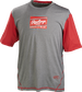 A gray/scarlet Rawlings adult Hurler performance short sleeve shirt with a scarlet Rawlings logo on the chest - SKU: HSSP-GR/S image number null