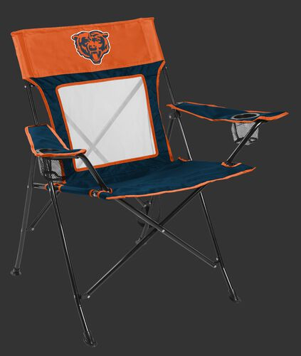 Front of Rawlings Burnt Orange and Navy Blue NFL Chicago Bears Game Changer Chair With Bear Logo On the Front SKU #00651062111