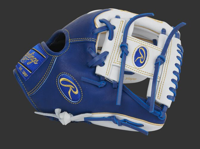 Royal thumb of an Exclusive Heart of the Hide Wing Tip I-web glove with a white I-web - SKU: PRO204W-2WR
