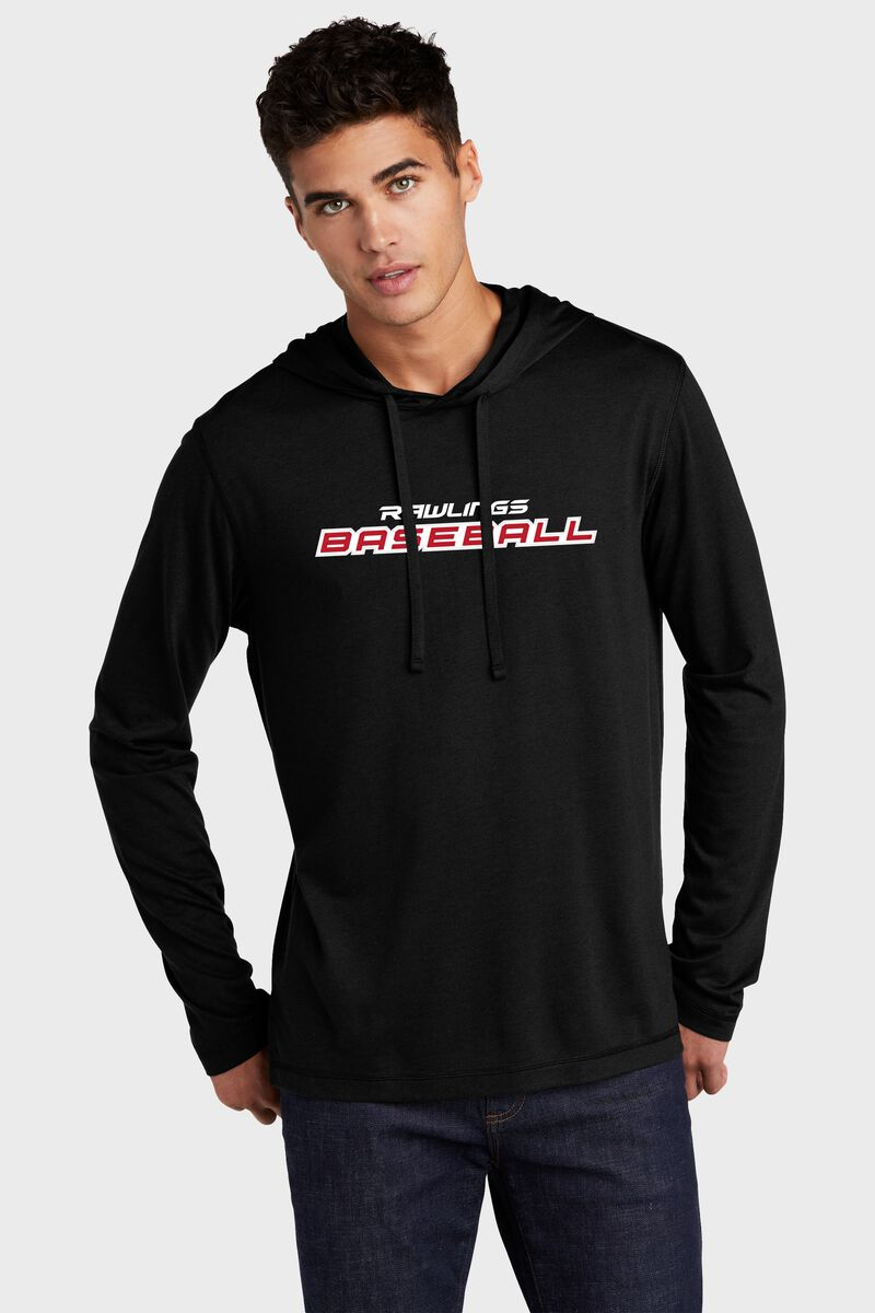 A man wearing a black lightweight Rawlings Baseball performance hoodie - SKU: RSGLH-B