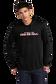 A man wearing a black lightweight Rawlings Baseball performance hoodie - SKU: RSGLH-B image number null