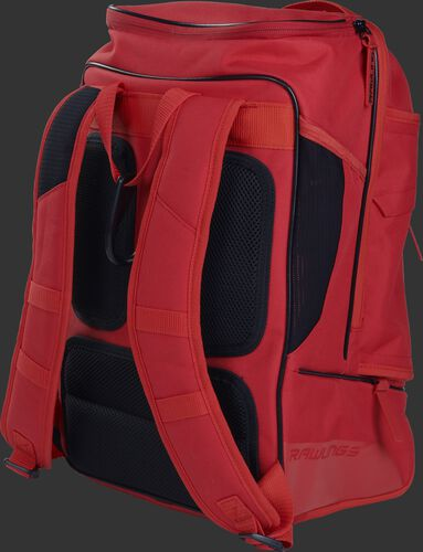 Back right view of a scarlet R701 Rawlings baseball backpack