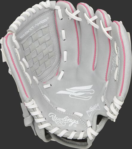 SCSB105P Rawlings Sure Catch Softball youth glove with a grey palm and white laces