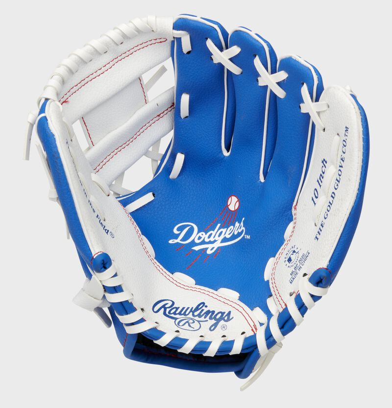 A blue/white Rawlings Los Angeles Dodgers youth glove with a Dodgers logo stamped in the palm - SKU: 22000011111