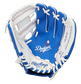 A blue/white Rawlings Los Angeles Dodgers youth glove with a Dodgers logo stamped in the palm - SKU: 22000011111 image number null