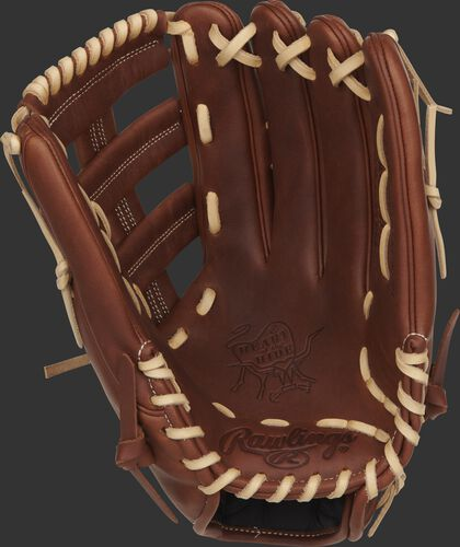 Timberglaze palm of a Rawlings Nick Markakis outfield glove with camel laces - SKU: PRO435-NM22