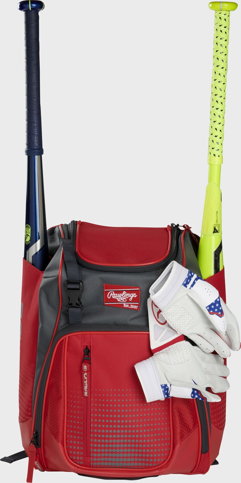 A scarlet Franchise backpack with two bats in the sides and batting gloves on the front Velcro strap - SKU: FRANBP-S