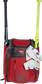 A scarlet Franchise backpack with two bats in the sides and batting gloves on the front Velcro strap - SKU: FRANBP-S image number null