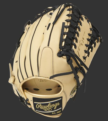 Camel Speed Shell back of a Pro Preferred Trap-Eze web outfield glove with a black Rawlings patch - SKU: PROS3039-22CBSS