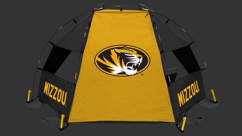 Back of a Missouri Tigers sideline sun shelter with the Tigers logo in the middle - SKU: 00973086111