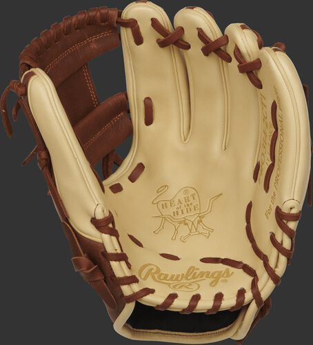 PRO314-2CTI Rawlings 11.5-inch infield glove with a camel palm and timberglaze laces