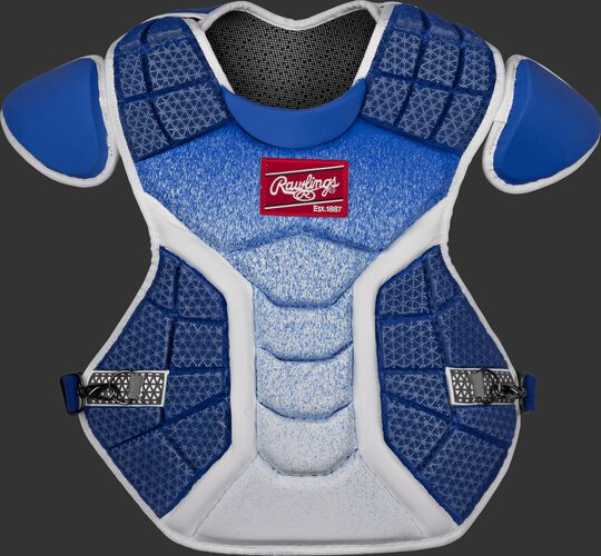 A white/royal CSPZ Salvador Perez model chest protector with a red Rawlings patch on the chest
