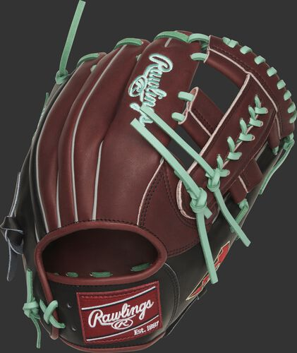 Back of a sherry/black Arizona Diamondbacks single post web infield glove with ocean mint laces - SKU: RSGPRONP4-19ARI