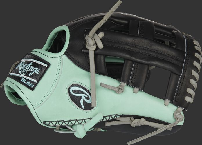 Thumb of a black/ocean mint Heart of the Hide ColorSync 5.0 infield glove with a black Single Post web - SKU: PRONP4-20BOM