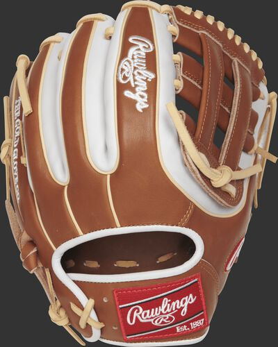 PRO314-6GBW 11.5-inch Rawlings H web infield glove with a golden brown/white back and camel double-welting