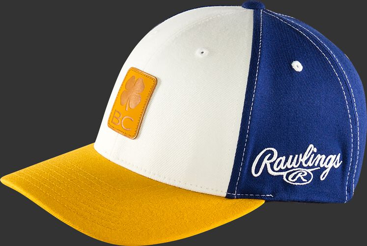 Side of Rawlings White, Yellow, and Blue Black Clover Heart of the Hide Fitted Hat SKU #BC0HOH0071