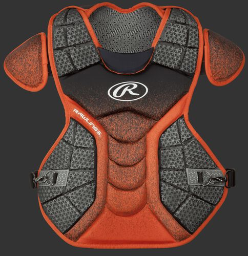A black/orange CPVEL Velo series adult chest protector