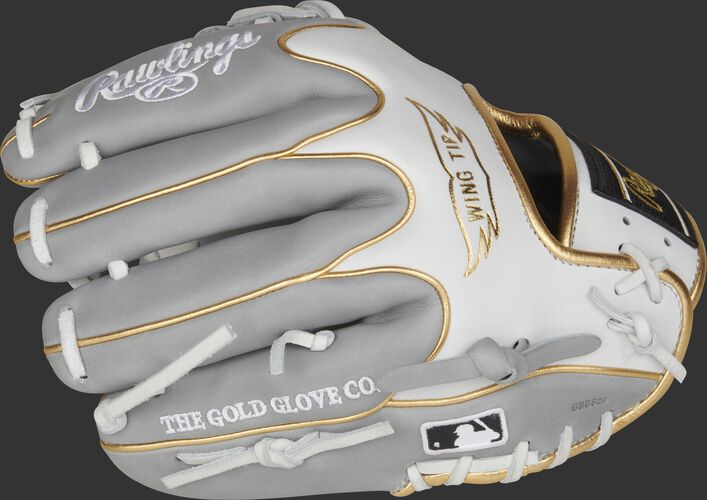 Fingers of a PRO204W-2GW Heart of the Hide exclusive glove with the Official Glove of MLB logo