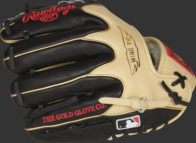 Black fingers of a Rawlings Pro Preferred 11.5-Inch glove with gold welting and MLB logo on the pinkie - SKU: PROS204W-2CBG