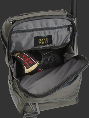 Glove compartment of a gray R701 Rawlings backpack with black glove
