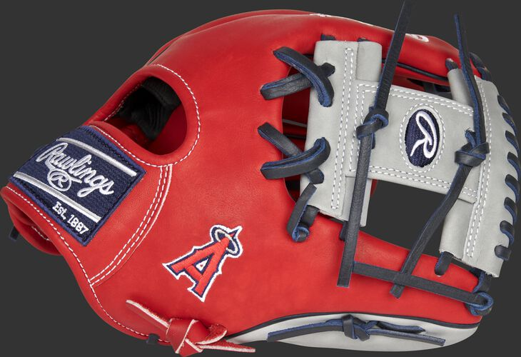 Thumb of a 2021 Los Angeles Angels Heart of the Hide glove with the Angels logo on the thumb - SKU: RSGPRO204-2LAA