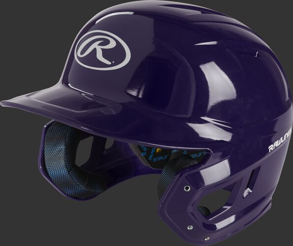 Left angle of a purple MCH01A Mach high school batting helmet