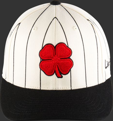Front of a white Retro Rawlings Black Clover hat with black pinstripes, a black bill and red clover leaf logo - SKU: BC0R00071