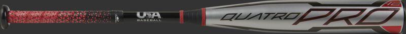A Rawlings 2021 Quatro Pro -12 USA bat with a silver barrel, black handle and Lizard Skins grip - SKU: US1Q12