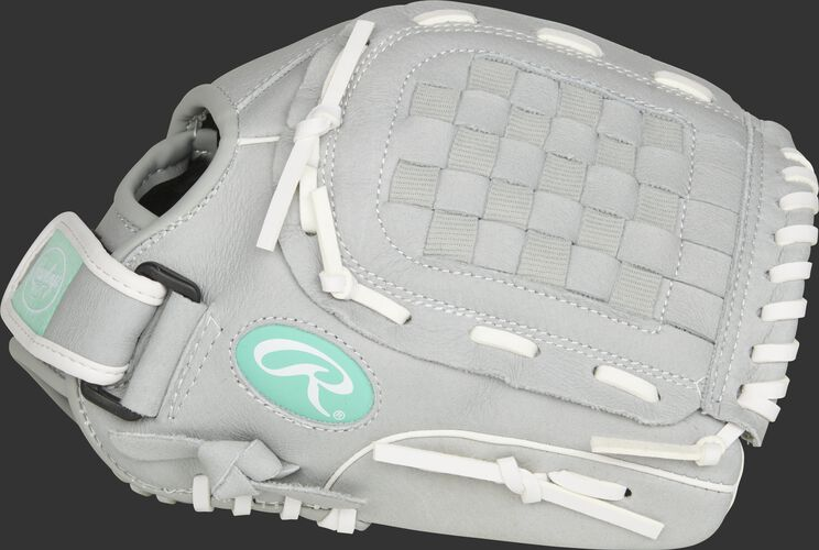 Thumb of a grey SCSB115M Sure Catch Softball 11.5-Inch youth infield/pitcher's glove with a grey Basket web