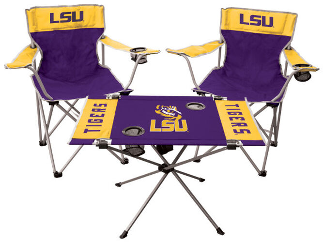 Front of Rawlings Purple and Yellow NCAA LSU Tigers 3-Piece Tailgate Kit With Two Kickoff Chairs, An Endzone Table, And A Transport Bag With Team Logo SKU #00993035511