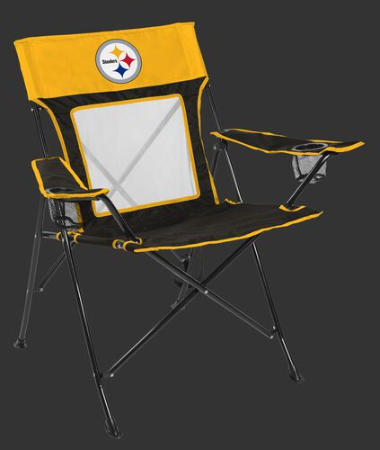 A Pittsburgh Steelers Game Changer chair with a mesh back an team logo on the top