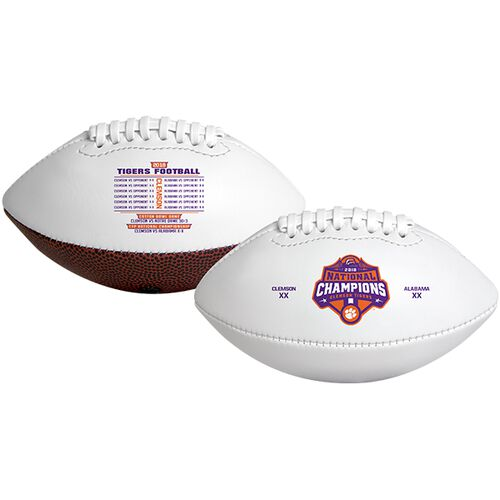 White 2018 College Football National Champions Clemson Tigers Youth Sized Football With Champions Logo SKU #04553120529