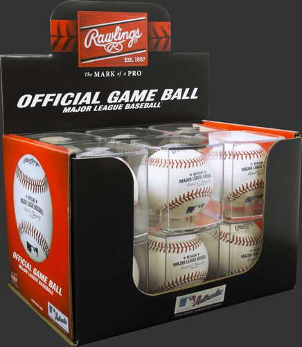 A box of a dozen MLB baseball in display cubes - SKU: ROMLB-R