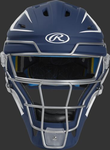 Front of a navy CHMCHJ Mach hockey-style junior catcher's helmet