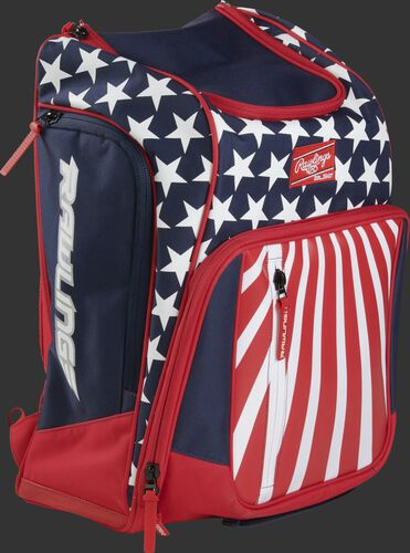 Right angle view of a USA Rawlings Legion backpack - SKU: LEGION-USA